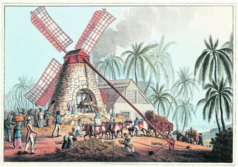 West Indies, Antilles Islands, slaves working in sugar cane mill